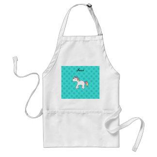Personalized name baby unicorn aqua snowflakes apron
