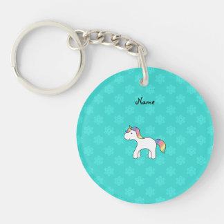 Personalized name baby unicorn aqua snowflakes key chain