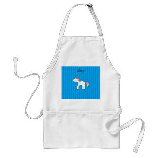 Personalized name baby unicorn blue stripes apron