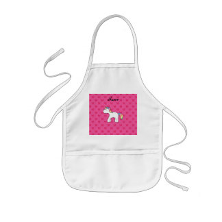 Personalized name baby unicorn pink butterflies aprons
