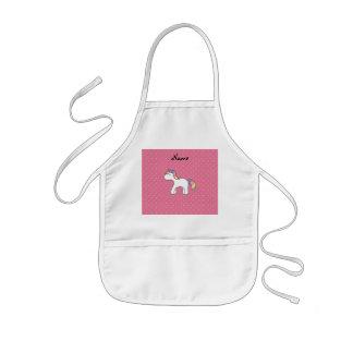 Personalized name baby unicorn pink diamonds kids' apron