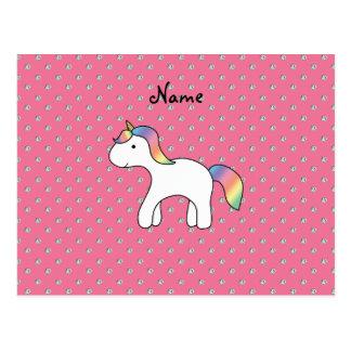 Personalized name baby unicorn pink diamonds postcard