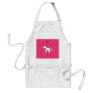 Personalized name baby unicorn pink flowers aprons