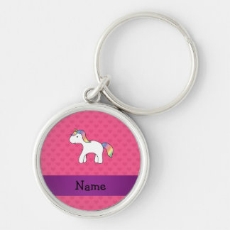 Personalized name baby unicorn pink hearts keychains