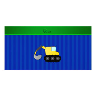 Personalized name backhoe blue stripes picture card