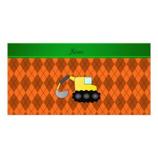 Personalized name backhoe orange argyle photo card template