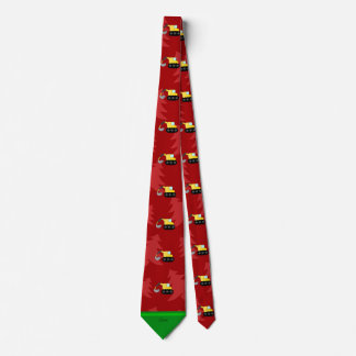 Personalized name backhoe red christmas trees tie