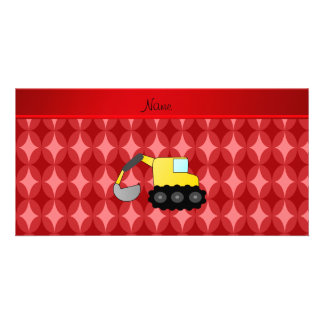 Personalized name backhoe red retro ovals photo card