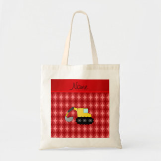 Personalized name backhoe red retro ovals tote bag