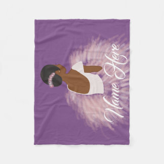Personalized Name  Ballerina African American Fleece Blanket