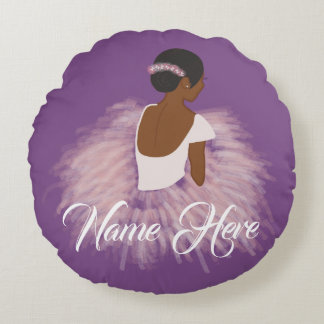 Personalized Name  Ballerina African American Round Pillow