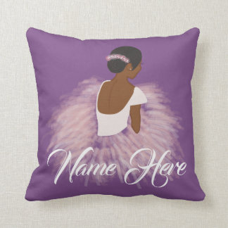 Personalized Name  Ballerina African American Throw Pillow