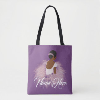 Personalized Name  Ballerina African American Tote Bag