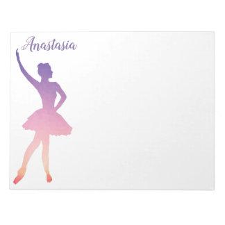 Personalized name ballerina girl dancing notepad