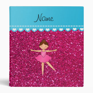 Personalized name ballerina neon hot pink glitter 3 ring binders