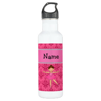 Personalized name ballerina pink damask 710 ml water bottle