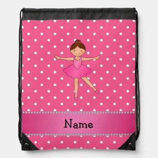 Personalized name ballerina pink white polka dots drawstring bags