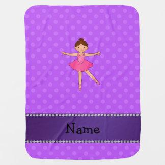 Personalized name ballerina purple polka dots stroller blanket
