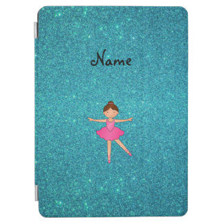 Personalized name ballerina turquoise glitter iPad air cover