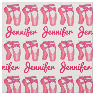 Personalized Name Ballet Toe Shoes Dance Fabric
