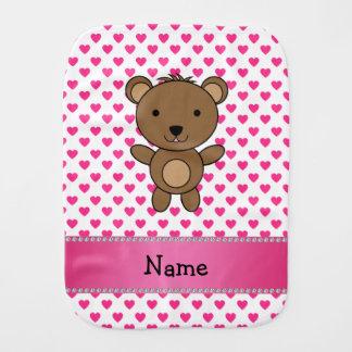Personalized name bear pink hearts polka dots burp cloth