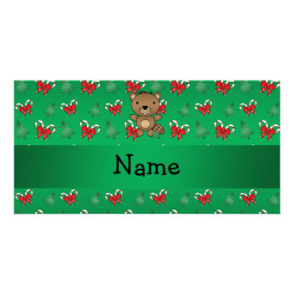 Personalized name beaver green candy canes bows picture card