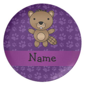 Personalized name beaver purple paw pattern party plates