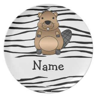 Personalized name beaver zebra stripes dinner plate