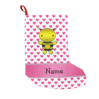Personalized name bee pink hearts polka dots small christmas stocking