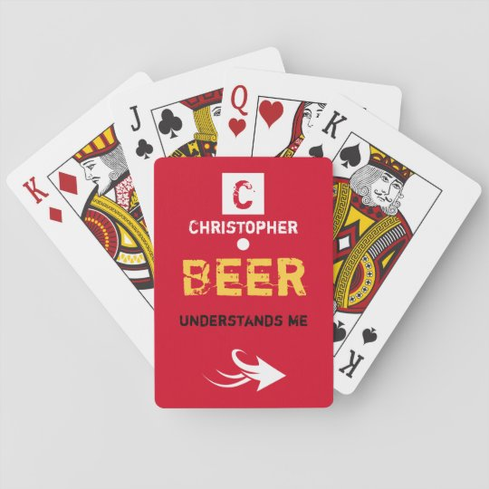 Personalized name beer drinker poker deck