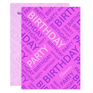 Personalized name Birthday party invitation pink