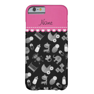 Personalized name black baby animals barely there iPhone 6 case