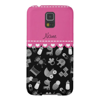 Personalized name black baby animals galaxy s5 case