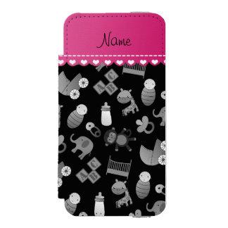 Personalized name black baby animals incipio watson™ iPhone 5 wallet case