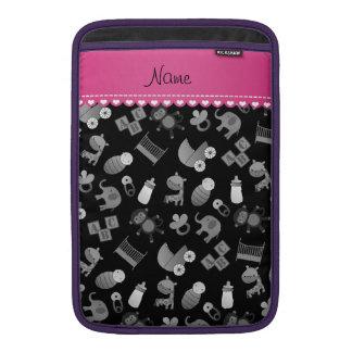 Personalized name black baby animals MacBook sleeves