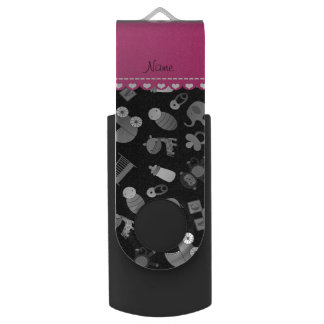 Personalized name black baby animals swivel USB 2.0 flash drive