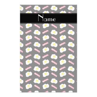 Personalized name black bacon eggs custom stationery