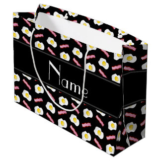 Personalized name black bacon eggs large gift bag