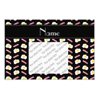 Personalized name black bacon eggs photo print