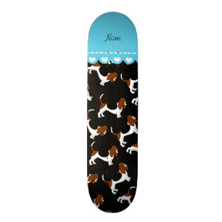Personalized name black basset hound dogs skate boards