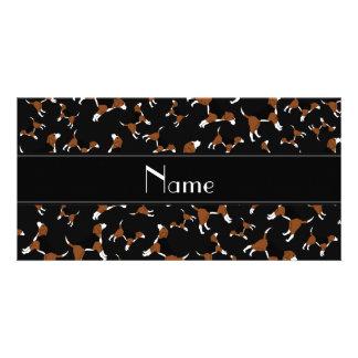 Personalized name black beagle dog pattern photo card