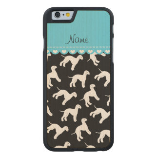 Personalized name black bedlington terrier dogs carved maple iPhone 6 case