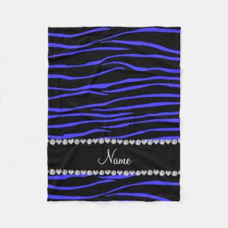 Personalized name black blue zebra stripes fleece blanket