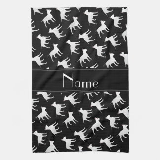 Personalized name black bull terrier dogs kitchen towel