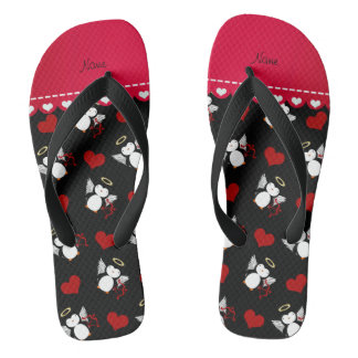 Personalized name black cupid penguins red hearts flip flops