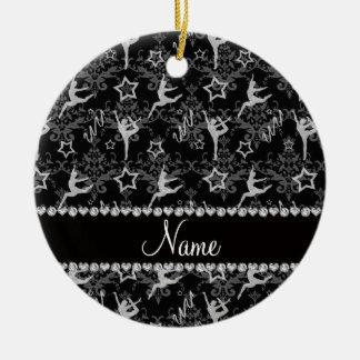 Personalized name black damask gymnastics ceramic ornament