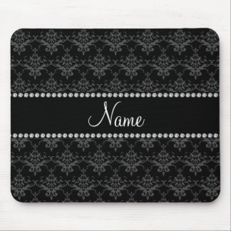 Personalized name Black damask Mouse Pads