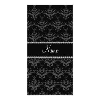 Personalized name Black damask Custom Photo Card