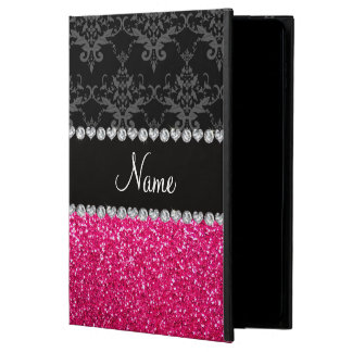 Personalized name black damask pink glitter powis iPad air 2 case
