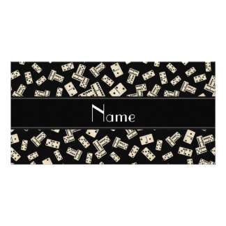 Personalized name black dominos photo greeting card